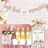 Mimosa バーサイン But First Mimosas バナー ボーホー 花柄 ベビーシャワーデコレーション ローズゴールド ブライダルシャワー装飾 ブランチバブリーバーテーマ 結婚式 婚約 誕生日パーティー ミモザバーキット