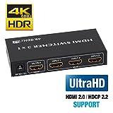 BLUPOW HDMI切替器 3入力1出力 4K 60Hz HDR 3D HDMI2.0 HDCP2.2対応 hdmiセレクター hdmiスイッチ PS4・Xbox・Blu-ray palyer・HD DVD・Fire TVなど対応 hdmi 切り替え3×