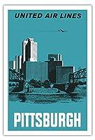 ピッツバーグ、ペンシルバニア州、アメリカ - ユナイテッドエアラインズ - アレゲニーとモノンガヒラ川 - ビンテージな航空会社のポスター によって作成された アルフ・マギー c.1959 - アートポスター - 76cm x 112cm