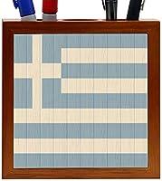 Rikki Knight Greece Flag on Distressed Wood Design 5-Inch Wooden Tile Pen Holder (RK-PH8716) [並行輸入品]