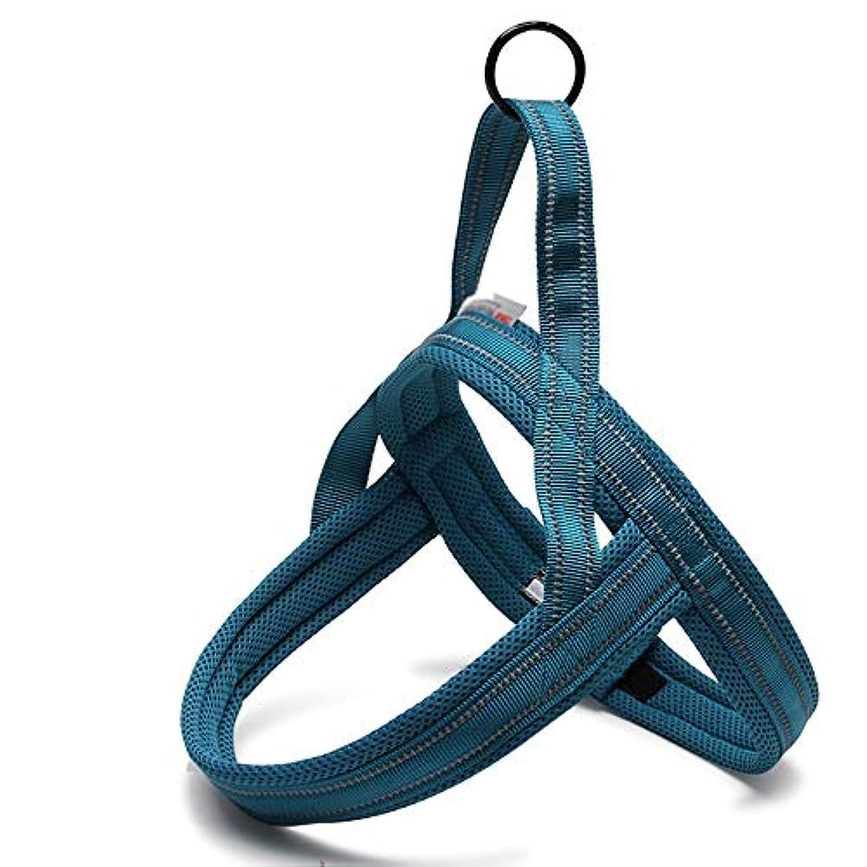 逃すジャンル束Jiabei フロントクリップ、トレイルランニング、ウォーキング、ハイキング、終日着用プルプル、けん引犬のない毎日のプルプル反射ナイロンドッグハーネス (色 : 青)