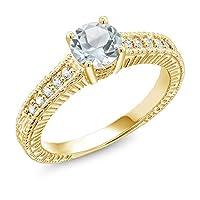 Gem Stone King 0.9カラット 天然 アクアマリン 合成ホワイトサファイア (ダイヤのような無色透明) シルバー925 イエローゴールドコーティング 指輪 リング