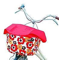 Sorayu レッド×リトルフフラ柄バスケットカバー(自転車前かごカバー) (普通サイズ)
