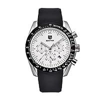 男性の防水クロノグラフカレンダーシリコーンストラップのためのファッションメンズ腕時計アナログクォーツ腕時計(ホワイトダイヤル)
