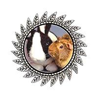 GiftJewelryShop 古代スタイル シルバープレート バニーとギニア ピッグ ホットスタイル ギア ラウンドピンブローチ