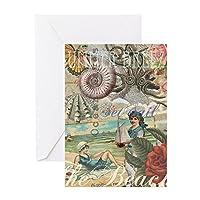 CafePress–ヴィンテージVictorianビーチレトロ夏–グリーティングカード、注意カード、誕生日カード、空白内側光沢