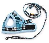 (ウミサト)umisato 猫 犬 チェック 柄 ボア ハーネス 胴輪 お散歩 リード セット(ブルー,S)