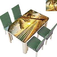 Printsonne ポリエステル製テーブルクロス 健康的な筋肉質の若い男性 白黒写真 屋内外用 (エラスティックエッジ) Rectangle/Oblong, 52 x 108 Inch