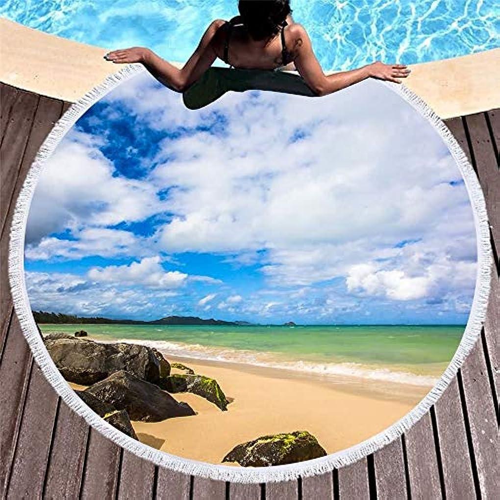 しつけ地殻国家海の波プリントタッセル付きマイクロファイバーヨガマットプールラウンドピクニック毛布付きラウンドビーチタオル150 Cm (色 : 57, サイズ : 150CM)