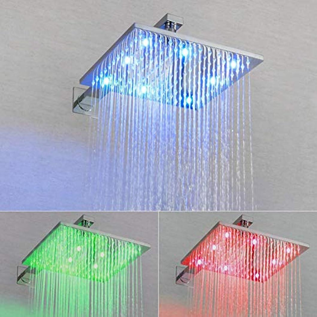 パターンインチ非互換シャワーシステム、LED浴室シャワーミキサーセットシャワー蛇口オール銅LED 3機能家庭シャワーヘッド埋め込み埋め込みボックスライトシャワーセット (サイズ : 25x25cm)