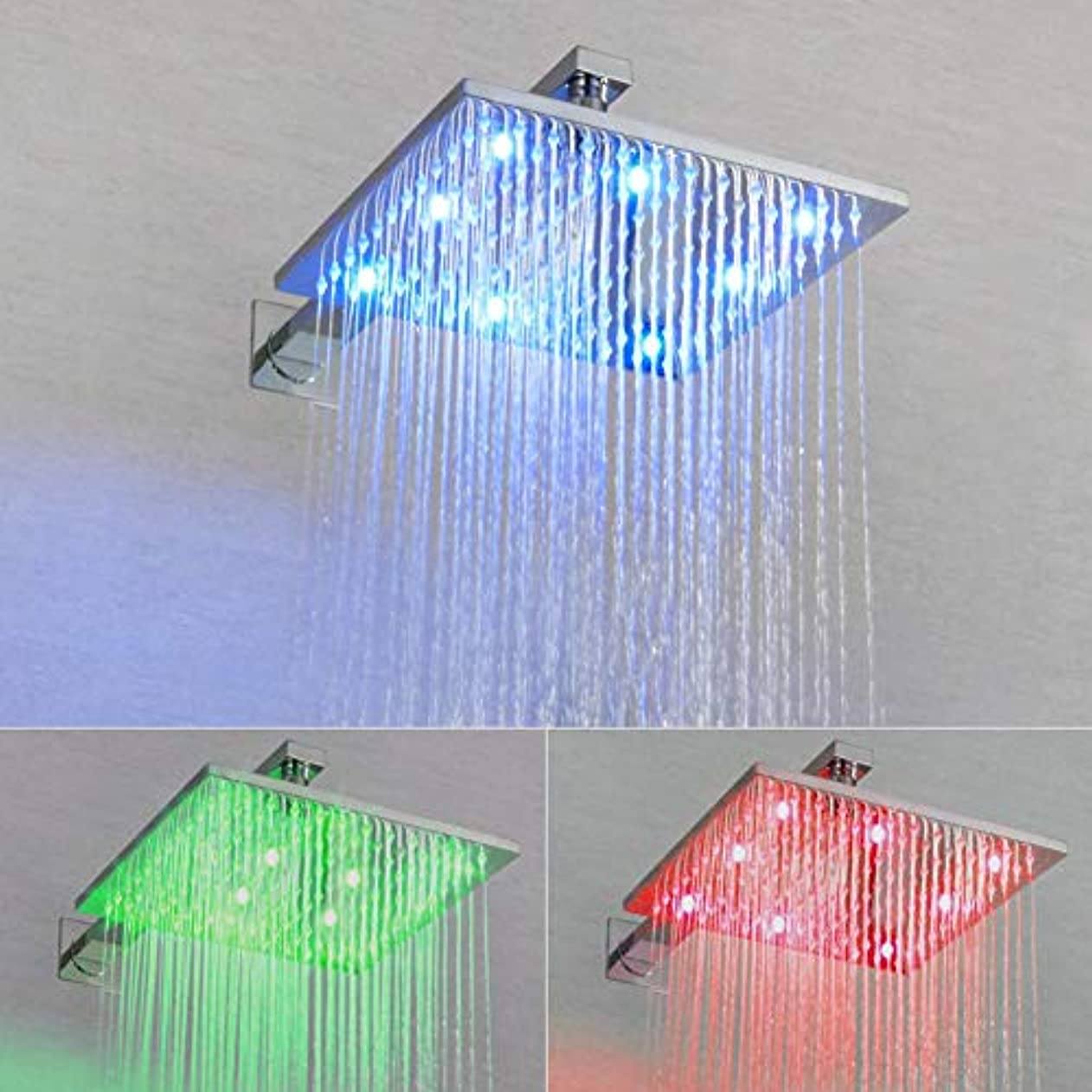 弁護側溝ノイズLEDサーモスタットシャワーシステム、バスルームレインシャワーセット銅シャワーシステムパネルブラスレインフォール3カラーLEDシャワーヘッド (色 : 25x25cm)