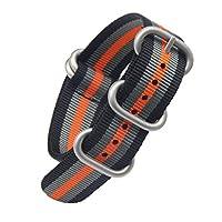20ミリメートル黒/グレー/オレンジ高級絶妙な男子ワンピースNATOスタイルのナイロンペルロンの時計バンドストラップ