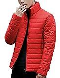 (オビエ)Ovie ライトダウン ジャケット レッド M 超軽量 カジュアル ウィンドブレーカー スウィングトップ トラッド ドレッシー フィールドコート ボンバージャケット プルオーバー プルパーカー 防寒 暖かい 登山 通勤 メンズ t35 赤 M