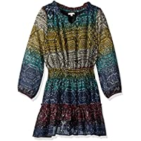 Ella Moss Big Girls' All Over Print Chiffon Dress, Black AOP