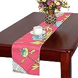 LKCDNG テーブルランナー 赤い 和風のつる クロス 食卓カバー 麻綿製 欧米 おしゃれ 16 Inch X 72 Inch (40cm X 182cm) キッチン ダイニング ホーム デコレーション モダン リビング 洗える