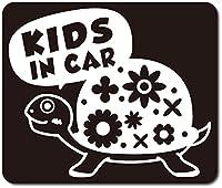 imoninn KIDS in car ステッカー 【マグネットタイプ】 No.53 カメさん (黒色)