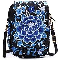 盛んな牡丹の刺繍の電話袋キャンバス 女性のミニクロスボディバッグ ショルダーバッグ