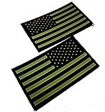 簡単 装着 星条旗 パッチ 選べる サバゲー IR 機能 付き 左右 2枚 セット US グリーン