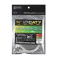 10GBASE完全対応。 サンワサプライ CAT7ウルトラフラットLANケーブル(1m、ホワイト) KB-FLU7-01W 〈簡易梱包