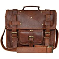 Reyansh 16 Inch Retro Goat Leather Laptop Messenger Bag Office Briefcase College Bag