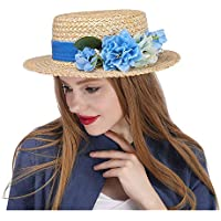 Flower Boater hat. The Amerie Hat Flat Top Straw Fascinator w/Ivory Flower Wedding Bouquet Boater 2018 New, (Color : Natural, Size : 56-58cm)