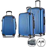 c2a3a830a Wanderlite Hard Shell Suitcase Sets Small Medium and Large Lightweight  Rolling Luggages Carry-on Case