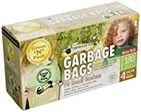 Green'N'Pack 003210 180 Count 4-180 Small Garbage Bags, 4 gallon by Green 'N' Pack