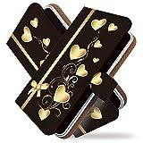 KEIO ケイオー Galaxy S9 SCV38 カバー 手帳型 リボン ハート柄 galaxys9 scv 38 手帳 きれい 綺麗 Galaxy S9 SCV38 ケース 手帳型ケース ハート ブラック ギャラクシー エスナイン ittnハートブラックt0664