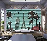 Bzbhart カスタム3D壁画、レトロなヨーロッパスタイルの木製、ホテルのコーヒーショップのリビングルームのソファテレビの壁の寝室の3D壁紙-200cmx140cm