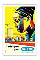 サベナによってアフリカ - セバナ・ベルギー・世界航空 - ビンテージな航空会社のポスター によって作成された ソーンズ・ハーメルン c.1960 - アートポスター - 31cm x 46cm
