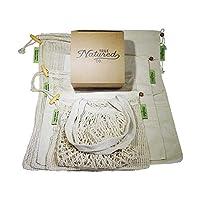 再利用可能な食料品買い物用袋 - (7) 洗濯不可 コットン バルク食品&メッシュ 巾着袋付き