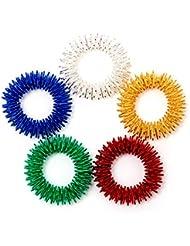 AIEX トゲトゲ形状 指用 感覚刺激リング 指圧マッサージ 静かに遊べる感覚刺激フィジェットトイ 子供/10代/大人に最適 自閉症の集中力対策 鮮やかな5色