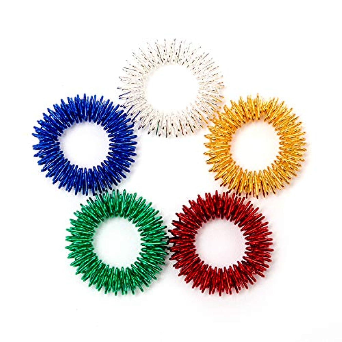 殉教者組立流行AIEX トゲトゲ形状 指用 感覚刺激リング 指圧マッサージ 静かに遊べる感覚刺激フィジェットトイ 子供/10代/大人に最適 自閉症の集中力対策 鮮やかな5色