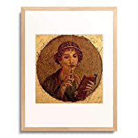 Pompeii,1st century AD 「Portrait of a young girl with pen and writing tablet」 額装アート作品