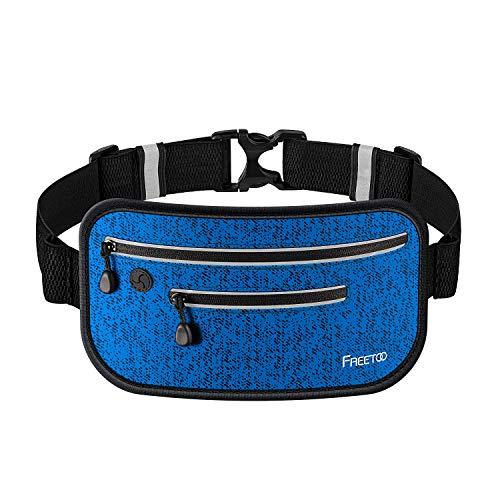FREETOO ランニングポーチ ウエストバッグ 極薄 超軽量 防水 防汗 反射素材 夜間対応 調節可能 6.0インチまでスマホに対応登山 サイクリング ウォーキング ジョギングポーチ (ブルー(2型))
