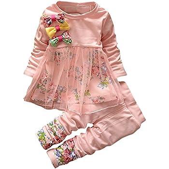 ac78c461abc88 Tovadoo 子供服 ベビー服 女の子 トップス+ズボン ワンピース 秋冬 花柄 リボン 可愛い 姉妹揃い