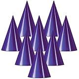 クラブパックof 48パープルFun and Festive Party Foil Cone Hats 6.75