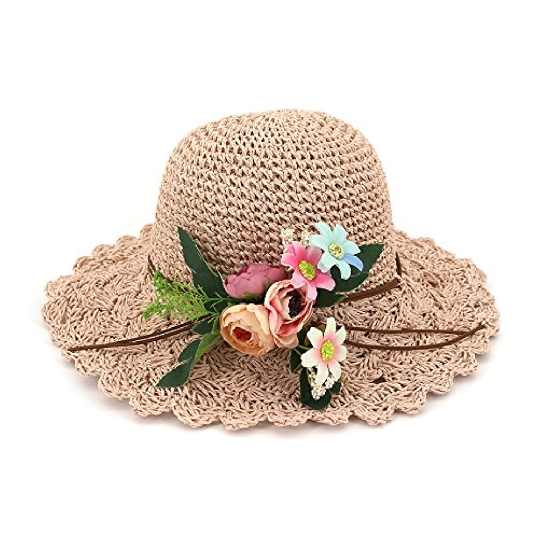 Yaojiaju 夏ストロー帽子、カジュアルファッション花ストローハンドは、女性のために広い縁取りのホリデービーチキャップサンハットを作った (色 : Pink)