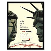 Travel America Airline Orient 1953 Statue Liberty Buddha Art Print Framed Poster Wall Decor 12X16 Inch 旅行アメリカ航空会社オリエント像自由ポスター壁デコ