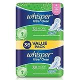 Whisper Ultra Clean Regular Flow Normal Day Wings Sanitary Pads, 36ct