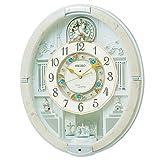 SEIKO CLOCK (セイコークロック) 掛け時計 電波 アナログ からくり トリプルセレクション・メロディ 回転飾り アイボリーマーブル模様 RE576A
