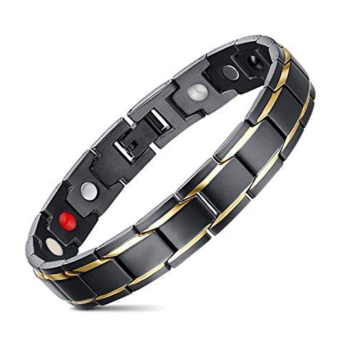 ゲルマニウム ブレスレット メンズ 純チタン製 紳士 磁気ブレスレット 健康 抗疲労 睡眠改善 (黒い)