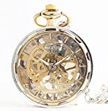 【 Alnair 】 ブランド 機械式 手巻き 懐中時計 チェーン付き スケルトン ゴールド BOX セット
