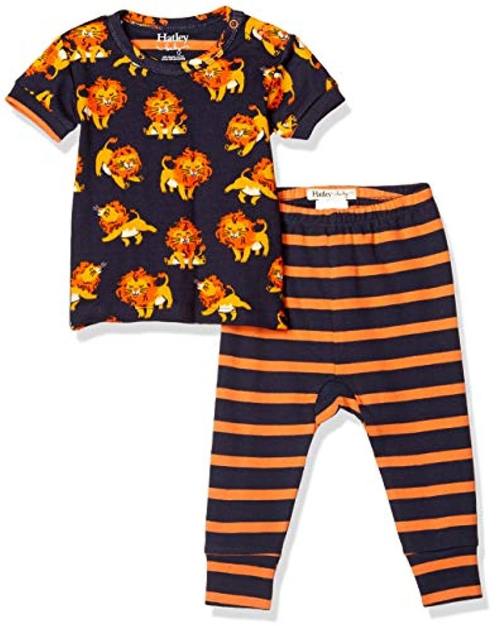 故国東ティモール汗Hatley ハットレイ ボーイズ 半袖バジャマ上下セット かわいいライオン柄 Organic Cotton Little Cubs Baby Short Sleeve Pajam 80~85cm、12M-18M(79-84cm) オーガニックコットン100% S20LCI1254