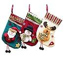 可愛い クリスマス 3D 立体 靴下 サンタクロース ソックス 【 3種 収納袋 セット 】 プレゼント袋 袋 ギフトバッグ ツリー 飾り 装飾 スノーマン トナカイ S69