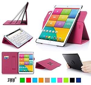 iPad Mini3 ケース iPad Mini2 ケース iPad Mini ケース,Fyy® 100%手作り 高級PUレザーケース 高品質 スリムケース カード収納/ペンホルダ/スタンド機能付き マグネット開閉式 360度回転可能 &解体可能タイプ マゼンタ
