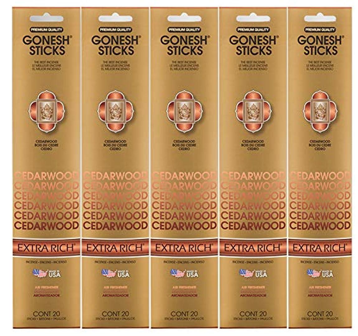 硬い帝国小石Gonesh Incense Sticks Extra Richコレクション – シダーウッド5パック(合計100 )