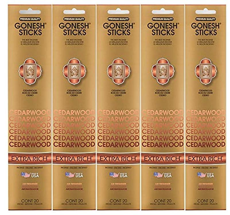 浮浪者追放セラフGonesh Incense Sticks Extra Richコレクション – シダーウッド5パック(合計100 )