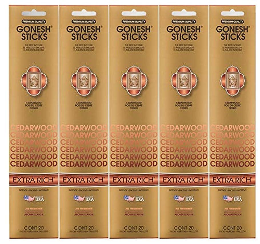 スローガンウルル作動するGonesh Incense Sticks Extra Richコレクション – シダーウッド5パック(合計100 )
