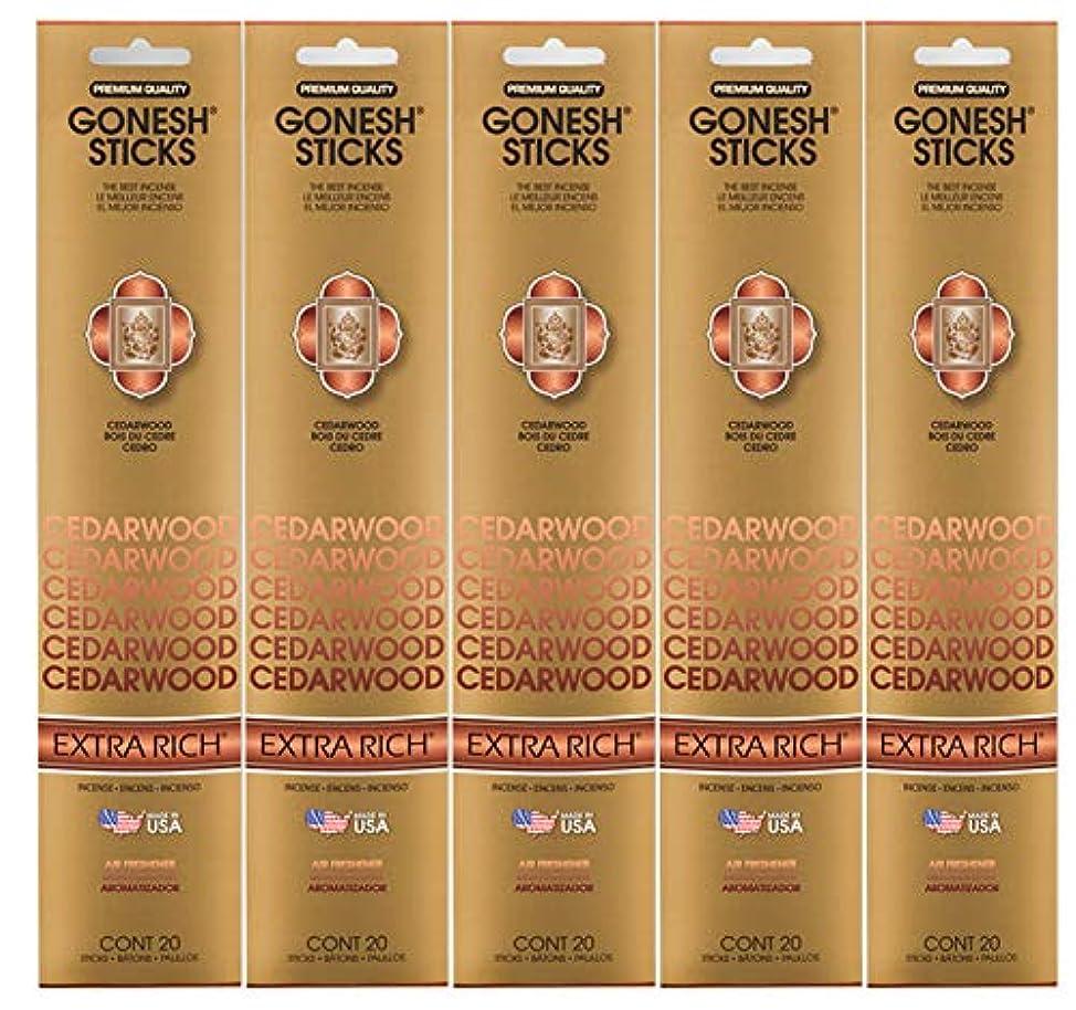 突撃生理速報Gonesh Incense Sticks Extra Richコレクション – シダーウッド5パック(合計100 )